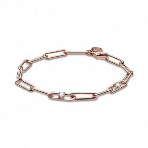Bracelet Chaîne et Brillants Couleur ROSE PANDORA