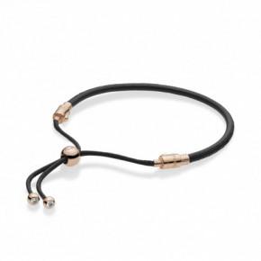 Bracelet Cuir Noir Fermoir Coulissant Couleur ROSE PANDORA MOMENTS